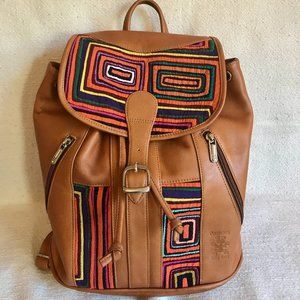 Leather backpack with Mola decoration